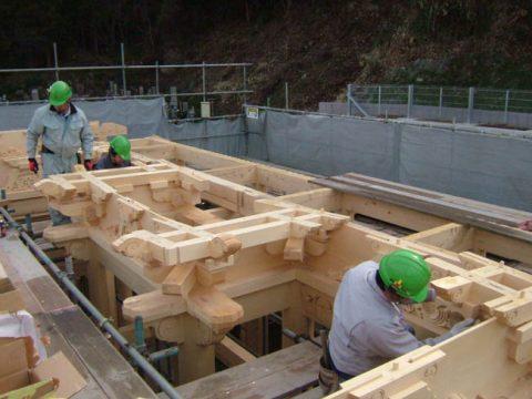 立柱から上棟まで(木工事)-11