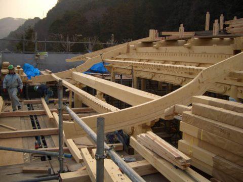 立柱から上棟まで(木工事)-16