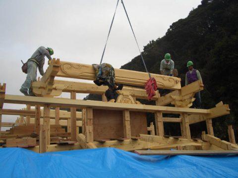 立柱から上棟まで(木工事)-19