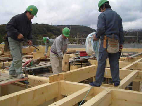 立柱から上棟まで(木工事)-07